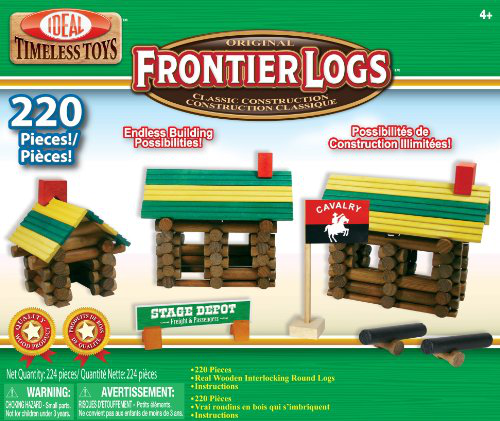 Poof-slinky 220L Ideal Frontier Logs Classic All Wood Construction Set With Sealed Storage Box, 220-PIECES